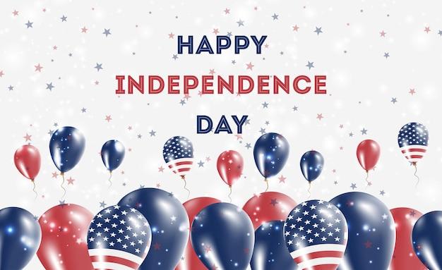 Патриотический дизайн дня независимости сша. воздушные шары в американских национальных цветах. поздравительная открытка вектора дня независимости.
