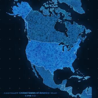 아메리카 합중국 추상지도입니다. 미국을 강조했다. 벡터 배경입니다. 미래의 스타일 카드. 비즈니스 프레젠테이션을위한 우아한 배경입니다. 3d 공간에서 선, 점, 평면.