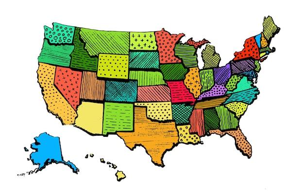 Соединенные штаты америки цветная карта забавный рисунок территория печать