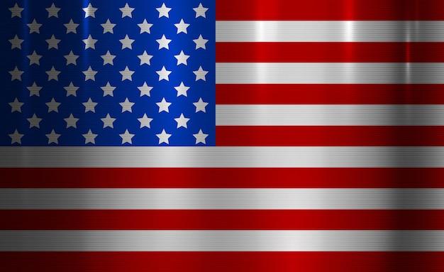 金属テクスチャ背景アメリカのシンボルグランジ金属表面上のアメリカ合衆国旗