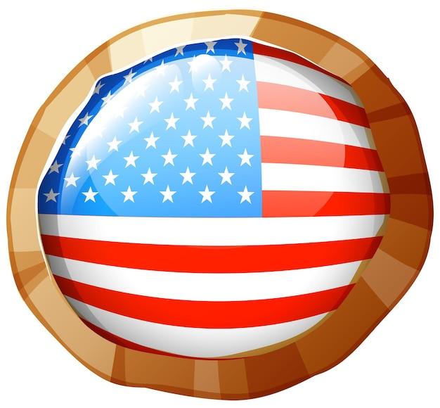 Флаг соединенных штатов америки на круглом значке