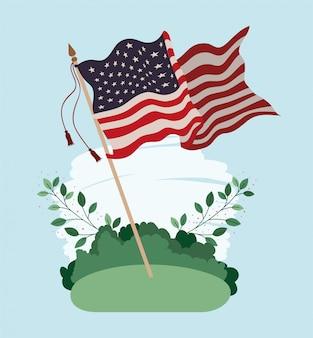 Соединенные штаты америки флаг развевается в поле