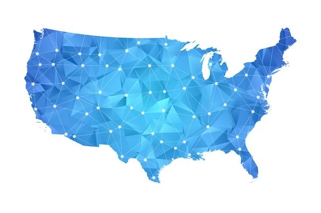 Карта соединенных штатов америки - абстрактная геометрическая помятая треугольная низкополигональная градиентная графика