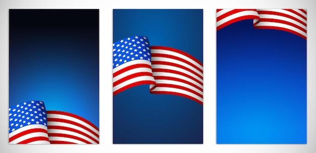 アメリカ合衆国テンプレートカバーセットベクトルイラスト