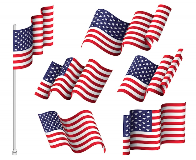 United states patriotic national symbol flag set
