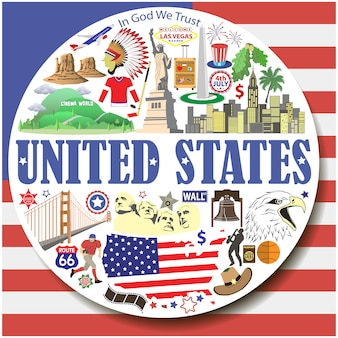 United states round background. setcolored flat icons and symbols set