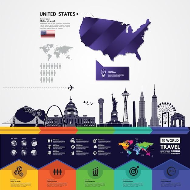 Соединенные штаты америки путешествия назначения векторные иллюстрации.