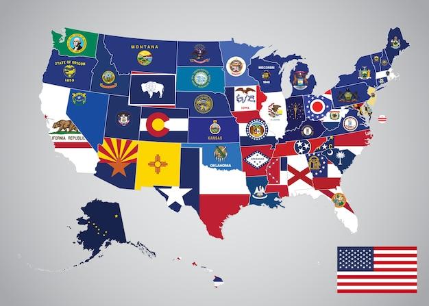 アメリカ合衆国とキャピタル・フラッグ・マップを持つ米国