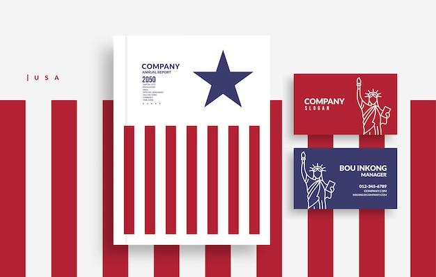 Обложка книги годового отчета unitel в штатах америки и дизайн визитной карточки