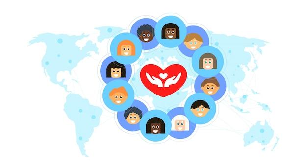 Объединяющие людей, сплоченное сообщество, концепция равноправия людей, люди разных рас изображены на фоне карты мира под символом сердца.