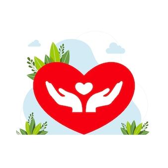 Объединение людей, единое сообщество, концепция равенства людей, две ладони, руки, держащие сердце. сердце в человеческой руке. векторная иллюстрация