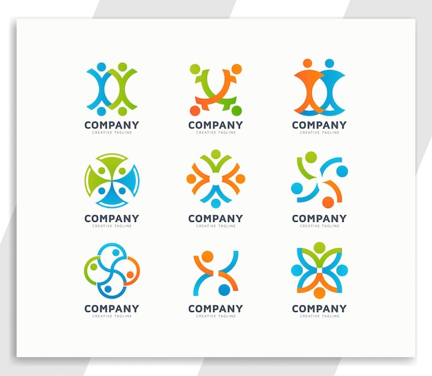 Unity or success people team logo design collection