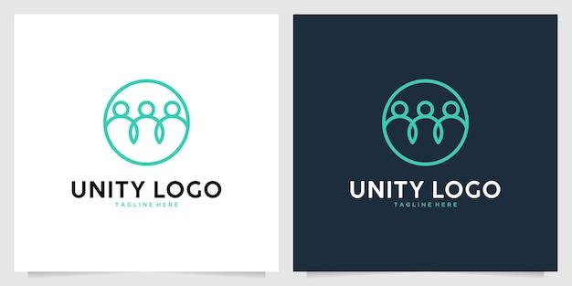 Unity with people line art logo design