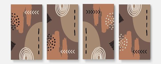 Набор универсальных абстрактных плакатов. творческие абстрактные карты концепции цвета тона земли. модные креативные абстрактные открытки на свадьбу, юбилей, день рождения, рождество, приглашения на вечеринку, интернет, печать