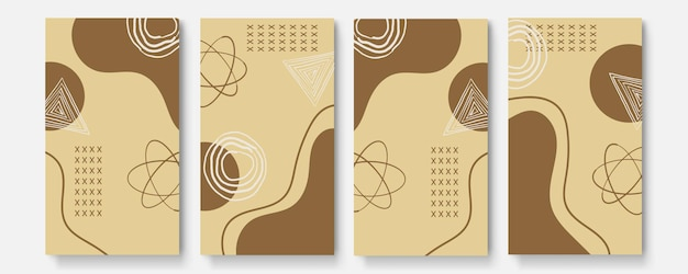 Universal abstract posters set. creative abstract earth tone color concept cards. trendy creative abstract cards for wedding, anniversary, birthday, christmas, party invitations, web, print