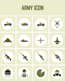 Universal army icons to use for web and mobile ui