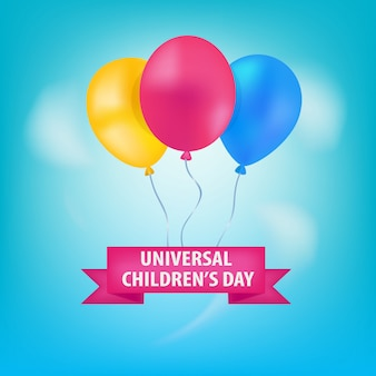 Universal children's day balloons in the sky