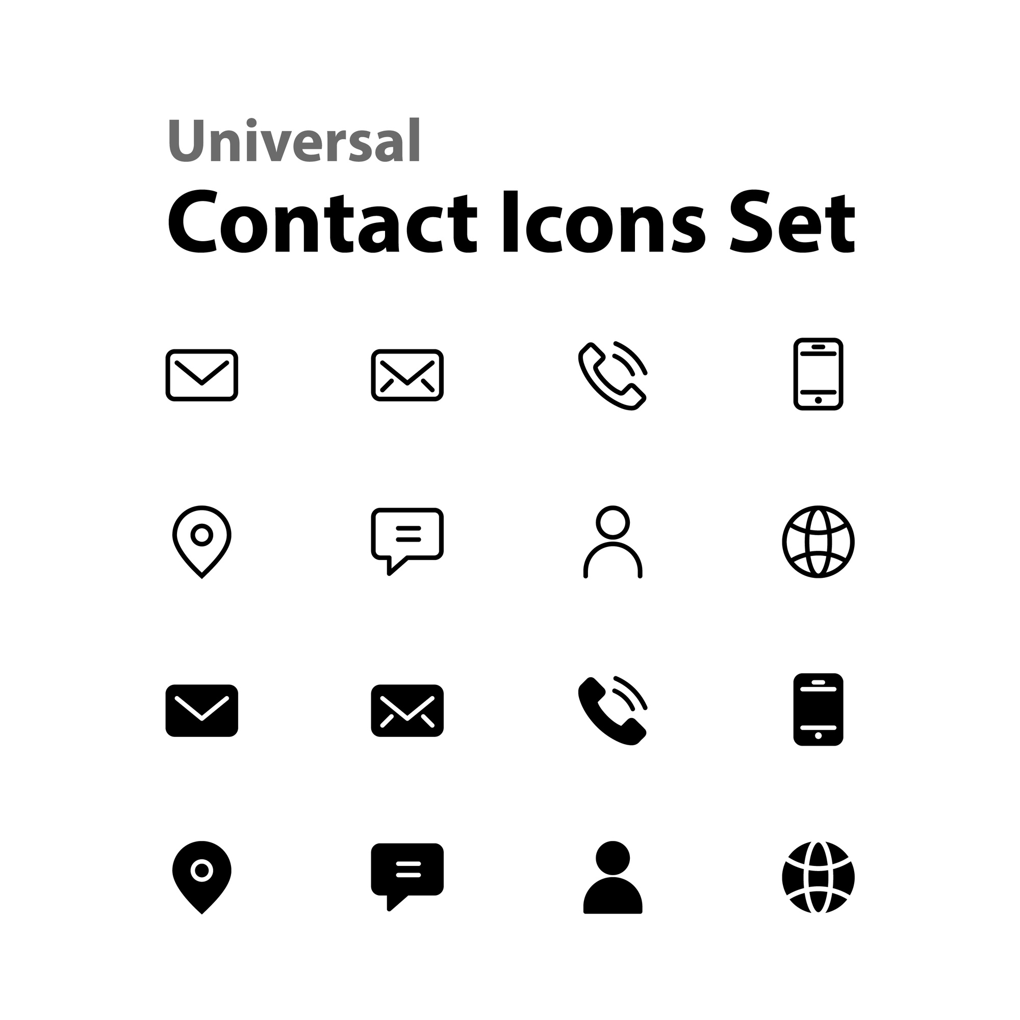 Universal Contact Icons Set