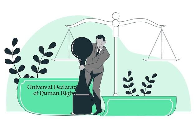Illustrazione del concetto di dichiarazione universale dei diritti umani