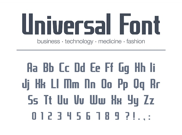Universal font for business headline text. condensed, narrow alphabet. technology typography style. media, fashion, medicine geometric logo . modern poster typeface with  letters, numbers
