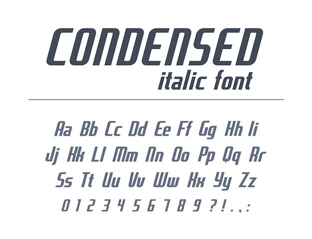 Universal font for business headline text. condensed, narrow, italic alphabet. dynamic typography style. high speed race, sport, geometric logo . modern poster typeface,  letters, numbers