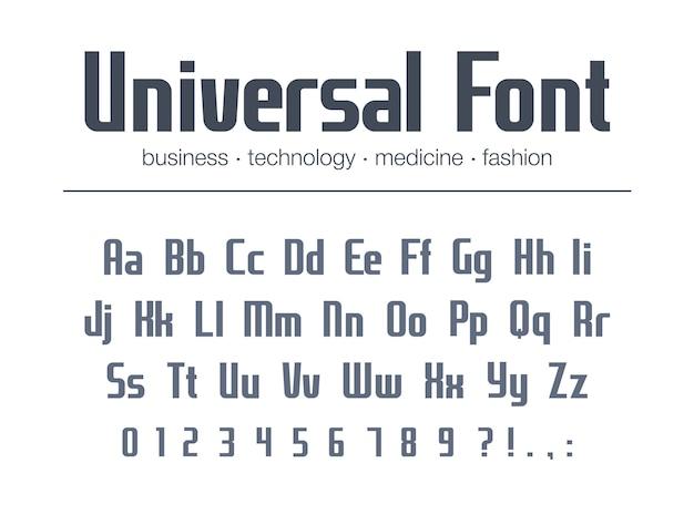 ビジネスの見出しテキストのユニバーサルフォント。凝縮された、狭いアルファベット。テクノロジーのタイポグラフィスタイル。メディア、ファッション、医学の幾何学的なロゴ。文字、数字のモダンなポスター書体