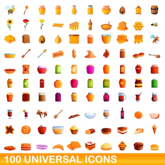 Universal icons set, cartoon style