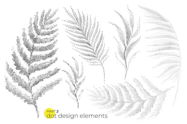유니버설 잎 세트 점선 하프톤 요소 구성 점묘법 스타일의 식물 요소