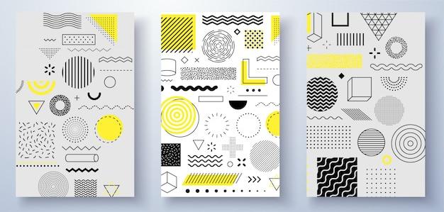 Набор универсальных трендовых полутоновых геометрических фигур сочетается с яркой смелой желтой композицией элементов. элементы дизайна для журнала, листовки, афиши