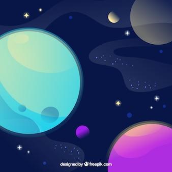 Sfondo universo con pianeti colorati