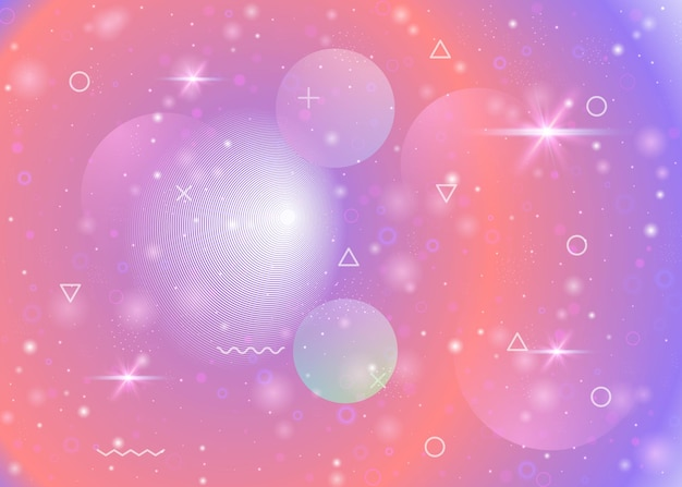 Universe background with galaxy and cosmos shapes and star dust. 3d fluid with magic sparkles. fantastic space landscape with planets. holographic futuristic gradients. memphis universe background.