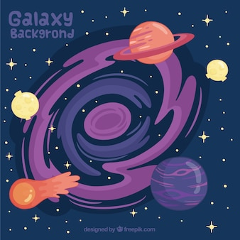 Фон вселенной с планетами и метеоритом