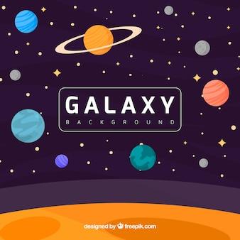 Фон вселенной с планетами