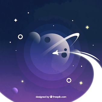 Universe background with rocket