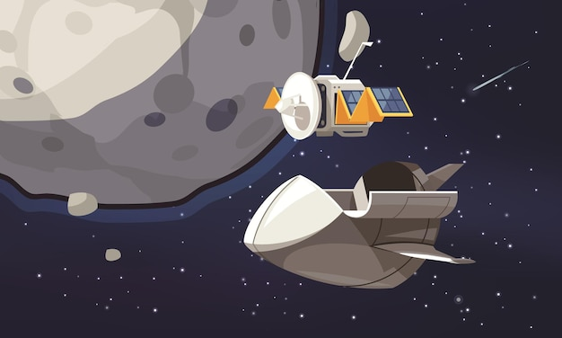 Universe exploration cartoon  with space ship and satellite flying in orbit around surveyed planet Free Vector