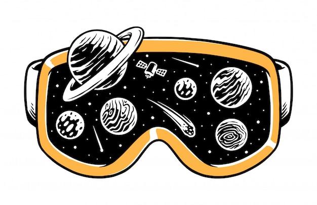 Universe in goggles illustration