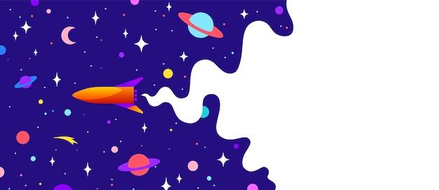 Вселенная. мотивационный баннер с облаком вселенной, темным космосом, планетой, звездами и ракетным космическим кораблем