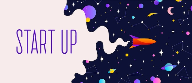 Universe. motivation banner with universe cloud, dark cosmos, planet, stars and rocket spaceship. banner template with text start up, universe starry night dream background.