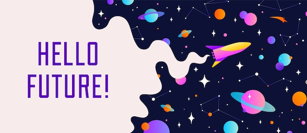 Universe. motivation banner with universe cloud, dark cosmos, planet, stars and rocket spaceship.
