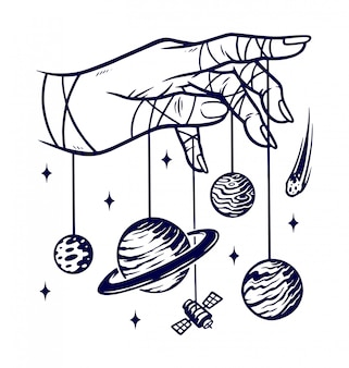 The universe in my hand illustration