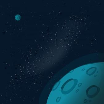 テキストのコピースペースを持つ宇宙または宇宙
