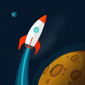 Вселенная или космическое пространство с планетами и полетом ракеты или космического корабля