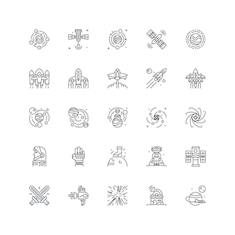 Universe space icon set isolated