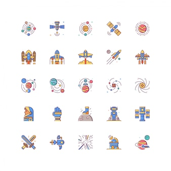 Universe space icon set with filled colored line isolated