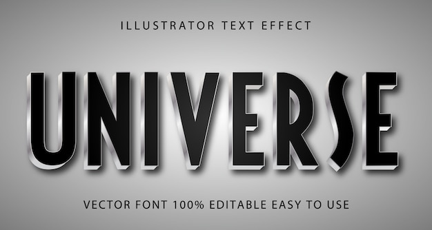 Universe  text effect fully editable Premium Vector