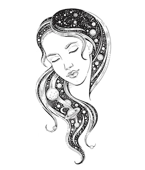 Universe woman with galaxy in her hair with moon star sky