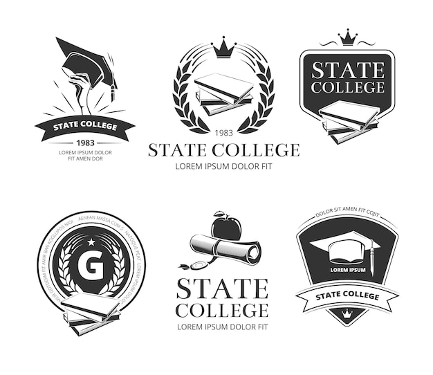 University, academy, college and school labels and badges set