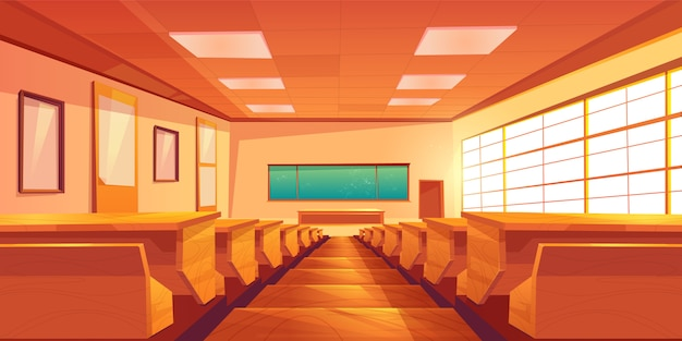 University auditorium cartoon vector interior illustration