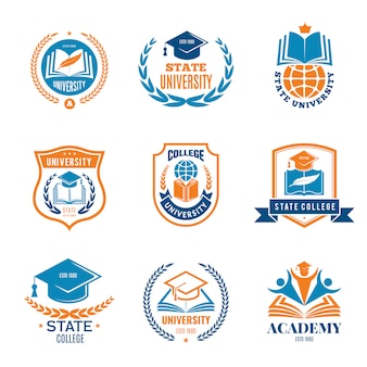 University badges. school business identity quality emblem college logo