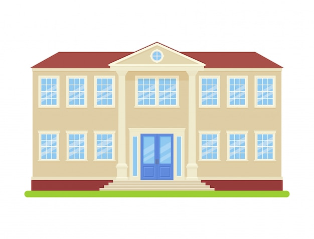 University building. . college front view. facade of education building. high school icon isolated . cartoon flat illustration. street architecture.